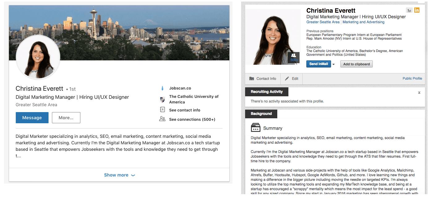 LinkedIn Summary comparison on Linkedin vs. LinkedIn Recruiter