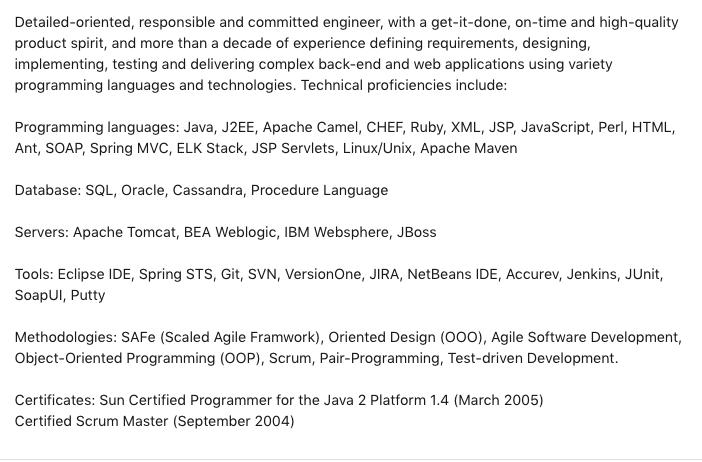 LinkedIn Summary Example 5